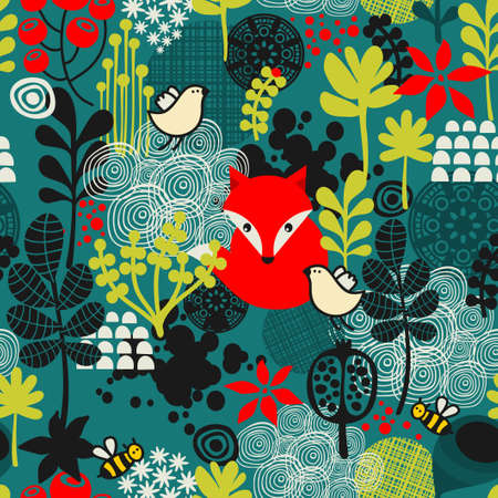 Birds, fox and flowers seamless pattern. Vector texture. Çizim