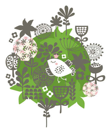 Flower ball with cute little bird in crown. Vector illustration. Vector