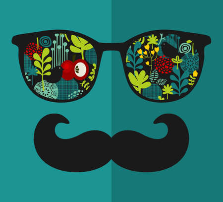 Retro sunglasses with reflection for hipster. Vector illustration of accessory - glasses isolated. Best print for eyeglasses advertisement. Vector