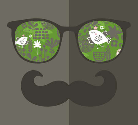 mustaches: Retro sunglasses with reflection for hipster. Vector illustration of accessory - glasses isolated. Best print for eyeglasses advertisement.