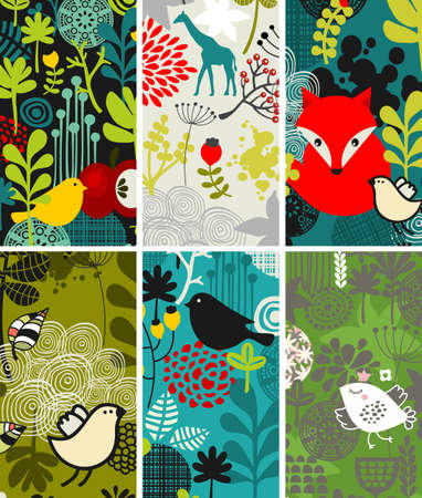 flora fauna: Set of vertical cards with birds and other animals. Vector illustration.