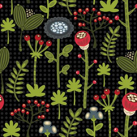 herbstblumen: Nahtloser Hintergrund mit Herbstblumen. Vektor-Muster.
