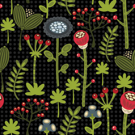 autumn flowers: Seamless background with autumn flowers. Vector pattern.