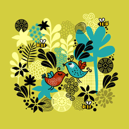 whimsical: Pattern with birds in love. Vector background. Illustration