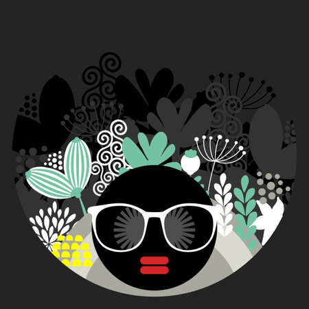 garden party: Black head woman with strange pattern on her hair. Vector illustration.