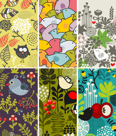 Set of vertical cards with birds and flora. Vector illustration. Vector
