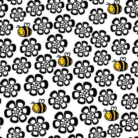 Seamless floral pattern with cartoon bee. Vector repeated background.