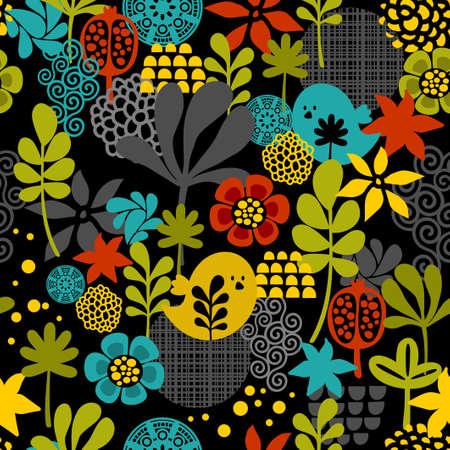 Naadloos patroon met kleurrijke vogels. Vector cartoon achtergrond. Stock Illustratie