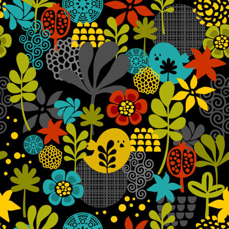 Seamless pattern with colorful birds. Vector cartoon background.
