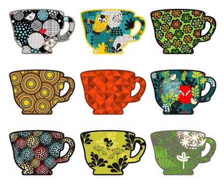 planta de cafe: Conjunto de tazas de café con las impresiones de la naturaleza. Ilustración del vector.