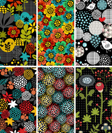 flora  vector: Set of vertical cards with birds and flora. Vector illustration.
