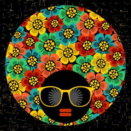 mujer hippie: Mujer cabeza de negro con el modelo extraño en su cabello. Ilustración del vector.