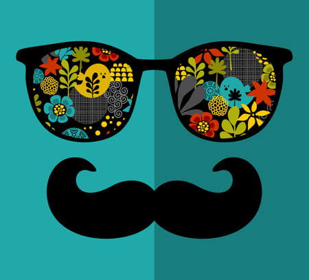 Retro sunglasses with reflection for hipster. Vector illustration of accessory - glasses isolated. Best print for your t-shirt. Vector