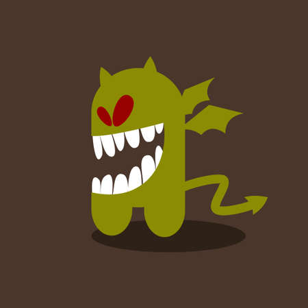 Crazy little monster with wings. Vector illustration.  Vector