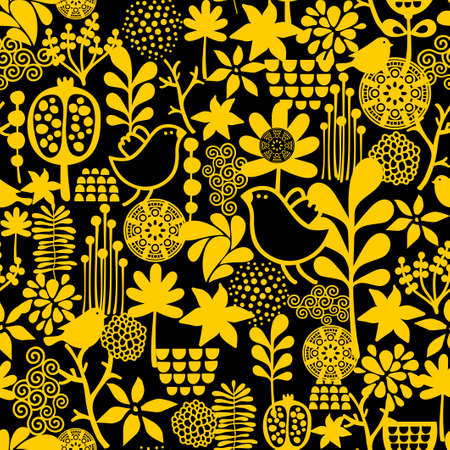 Seamless pattern with sweet birds. Vector background.  Vector