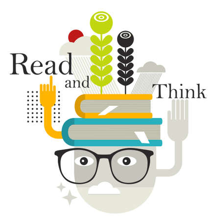 Old man with abstract books on his head. Vector illustration.  Vector