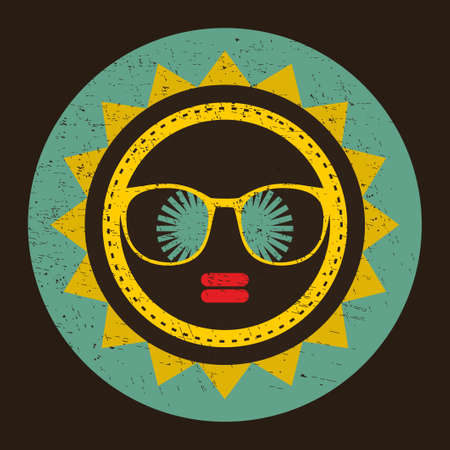 Cool sun with woman face in retro style. Vector vintage illustration.  Vector