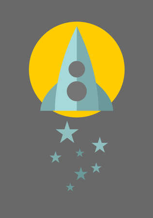 Spaceship on the moon background with blue stars. Vector illustration.  Vector