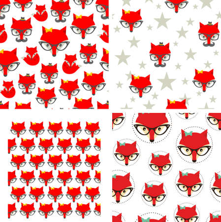 Set of seamless pattern with cute foxes. Vector background. Vector