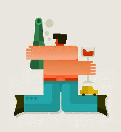 Drunk man with the bottle. Vector illustration.
