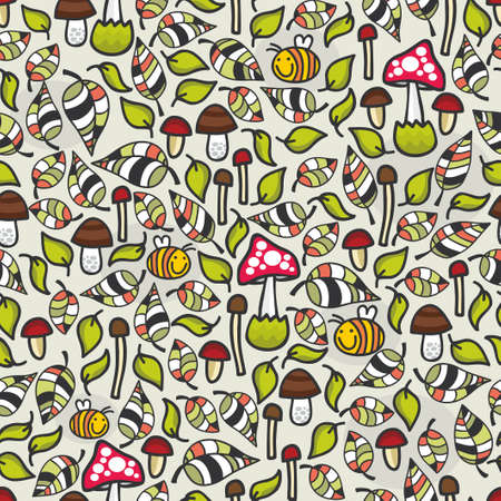 grebe: Seamless pattern with mushrooms. Vector background in retro style.