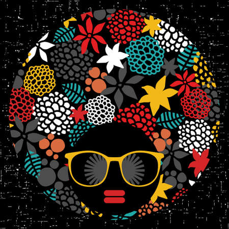 Black head woman in retro glasses. Vector illustration. Vector