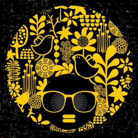 black woman: Black head woman in retro sunglasses. Vector illustration. Illustration