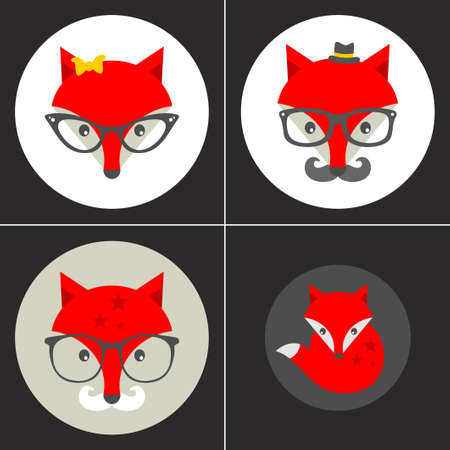 cool off: Set of cute seamless patterns with hipster fox. Vector background.