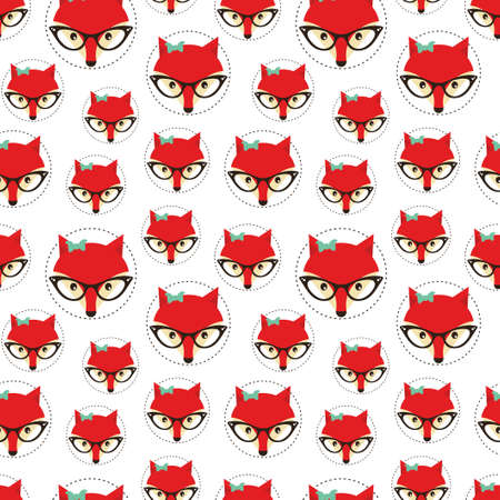 girl glasses: Seamless pattern with cute fox. Vector illustration.
