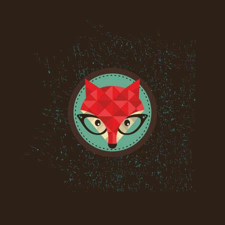 Hipster fox emblem. Vector illustration of animal in glasses.