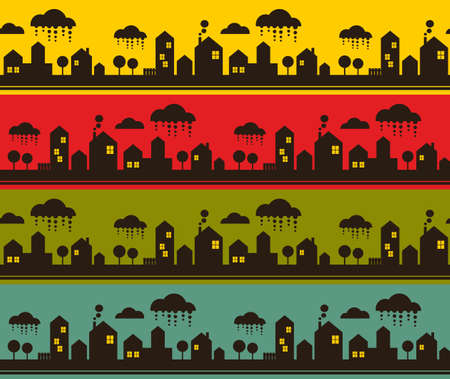 lighthearted: Night city seamless pattern. Vector illustration of cute town.