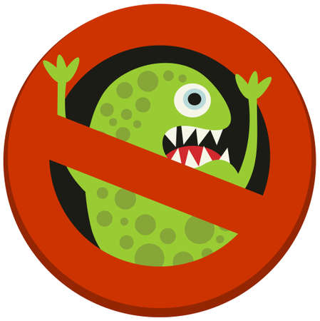 microcosmic: Ban sign to virus aggression. Vector illustration.