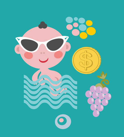 Cool baby on vacation. Vector set of cute things. Vector