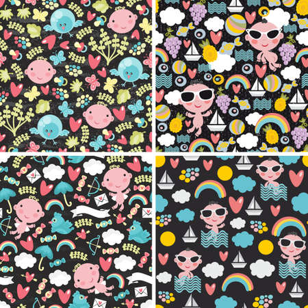 Set of cute seamless patterns with happy babies. Vector illustration. Vector