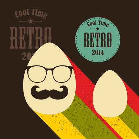 humpty dumpty: Easter eggs in retro style. Vector holiday illustration.