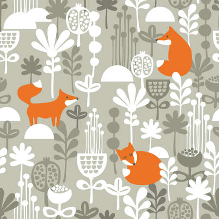 Fox in winter forest seamless pattern. Vector illustration.