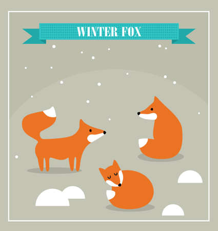 baby sleep: Set of cute little foxes in winter forest. Vector illustration. Illustration