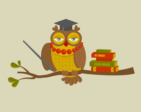 wise woman: Portrait of fashionable owl teacher. Vector illustration of wise bird with books on the tree.