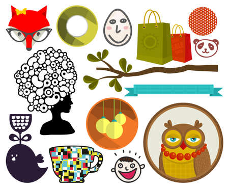 animals collection: Big collection of different vector images: animals, people, flowers. Illustration
