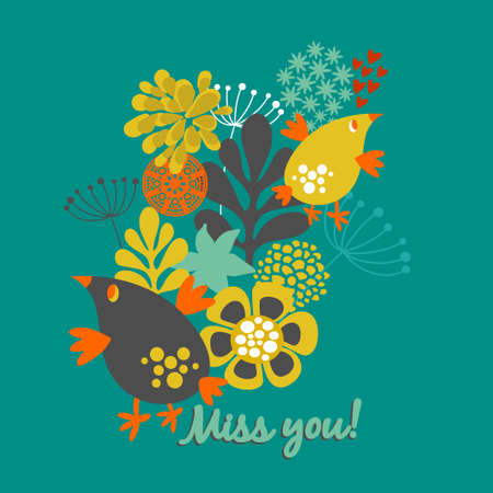 miss you: Miss you card cover. Floral illustration with vintage flowers and birds. Vector art design in retro style. Illustration