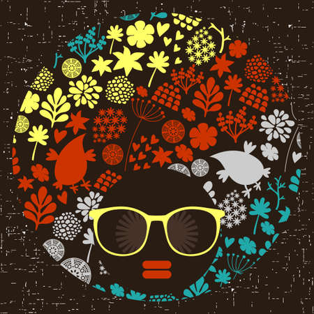 black woman: Black head woman with strange pattern on her hair. Vector illustration.