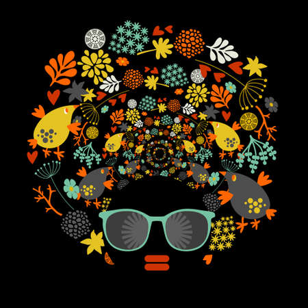 eyeglass: Black head woman with strange pattern on her hair. Vector illustration.