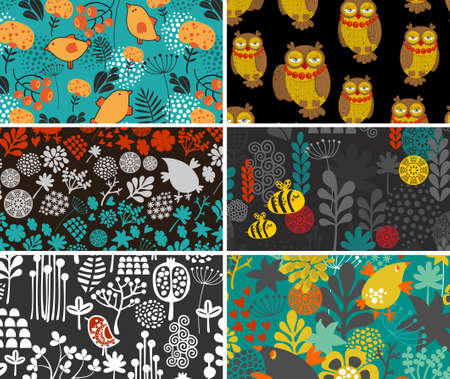 retro flowers: Set of retro cards with birds and flowers. Vector illustration. Illustration