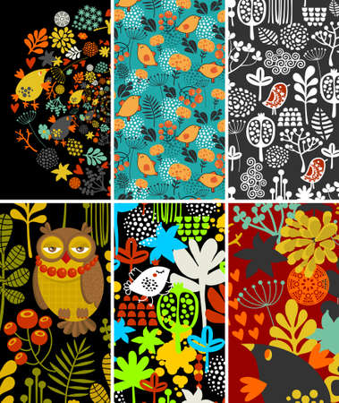 fauna: Set of vertical cards with birds and flora. Vector illustration.