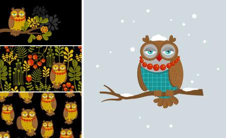 sky brunch: Set of vector illustrations with fashionable owl. Business card for women. Female art. Illustration