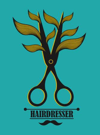 barber: Vintage label for hairdresser and barber with scissors. Vector illustration.