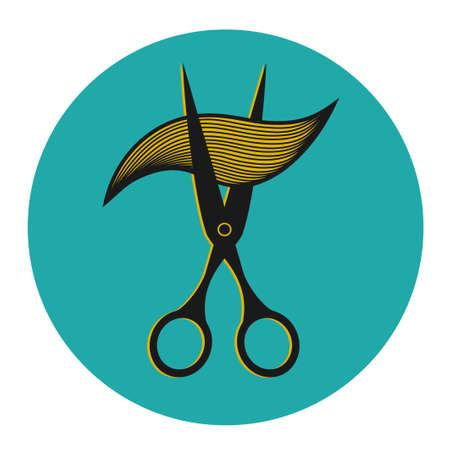 ringlet: Vintage label for hairdresser and barber with scissors. Vector illustration.
