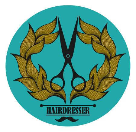 male grooming: Vintage label for hairdresser and barber with scissors. Vector illustration.