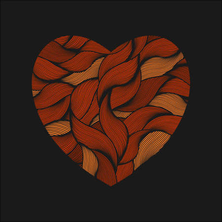 ringlet: Heart shape with red texture. Vector illustration.