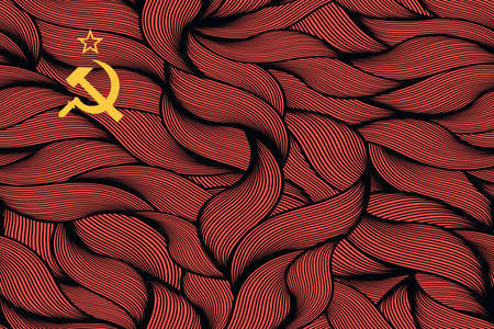 Abstract textured flag of Soviet Union. Vector colorful illustration. 向量圖像